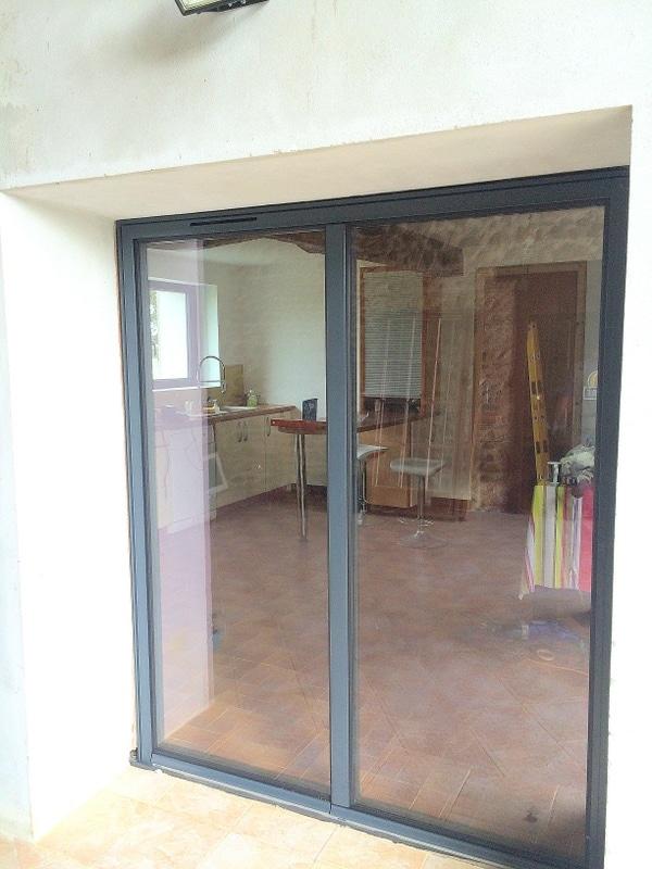 R novation baie vitr e aluminium par ddi tarbes - Remplacement d une porte de garage par une baie vitree ...