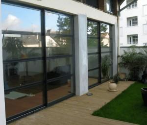 baie coulissante en aluminium r alisation de la menuiserie solabaie rennes. Black Bedroom Furniture Sets. Home Design Ideas