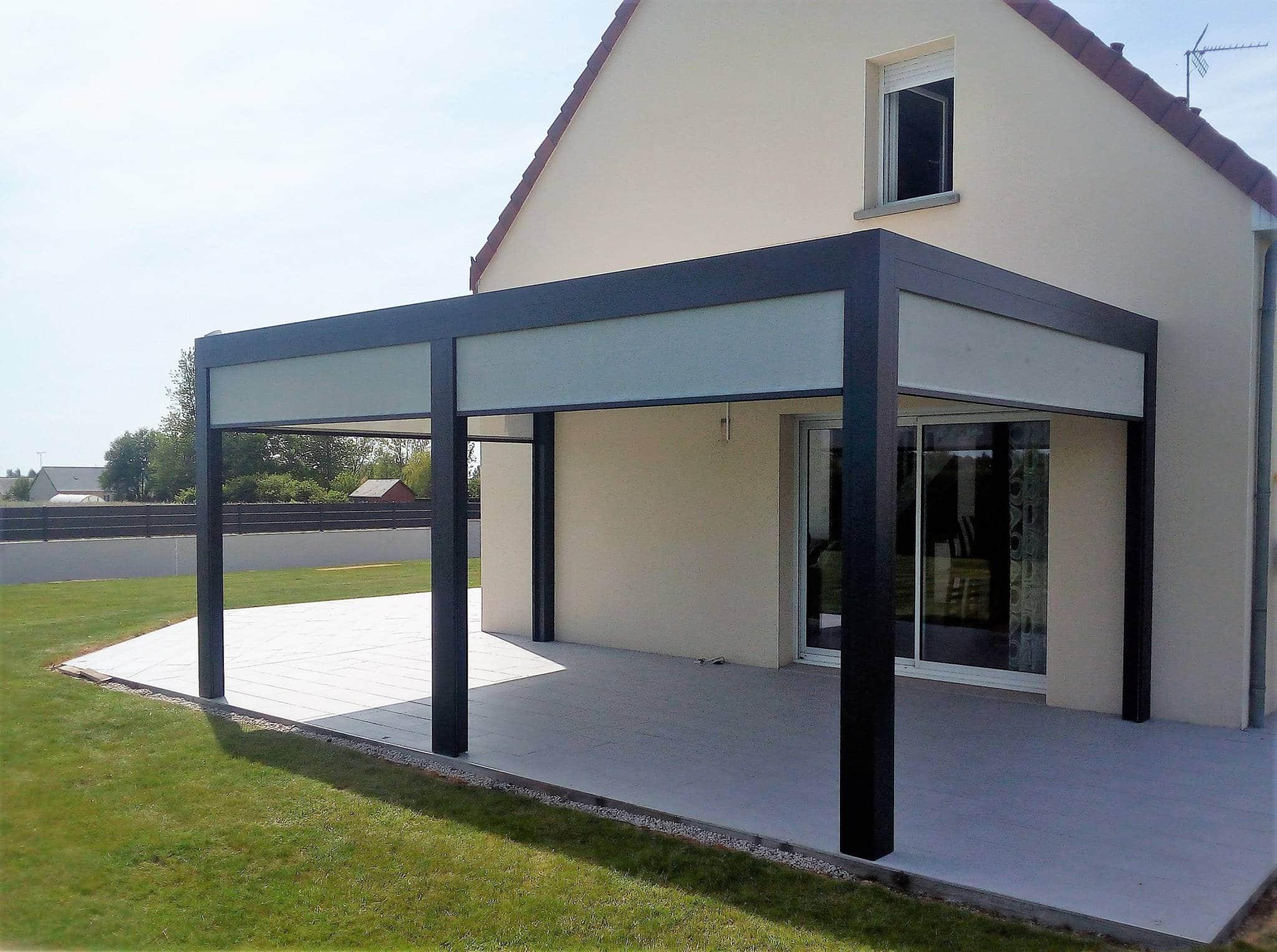 renov 39 habitat pose d 39 une pergola bioclimatique sur mesure. Black Bedroom Furniture Sets. Home Design Ideas