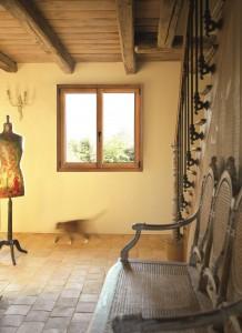 Fenêtre aluminium à la française aspect bois Solabaie