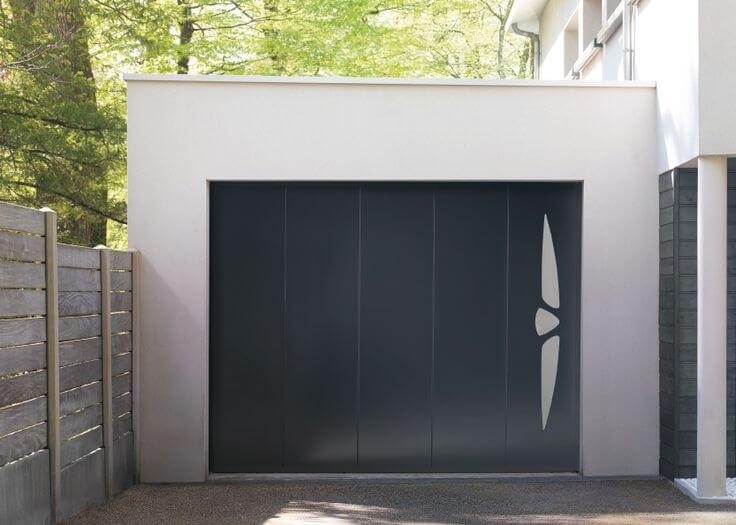 Porte de garage enroulable sur mesure solabaie - Porte de garage sectionnelle gris anthracite ...