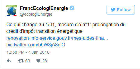 Prolongation du cr dit d imp t pour la r novation en 2016 - Credit d impot transition energetique ...