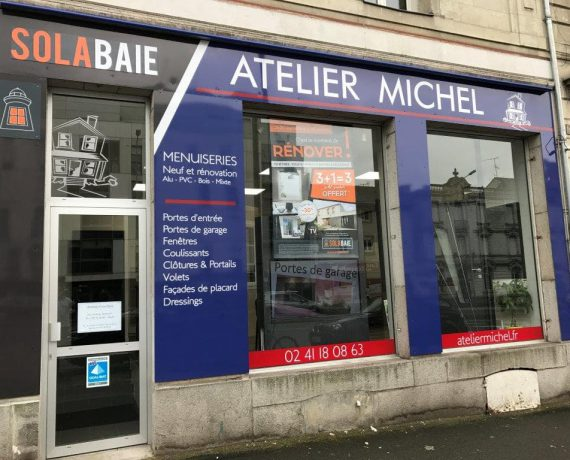 Devanture de votre installateur de volets, portes et fenêtres Solabaie Atelier Michel à Angers