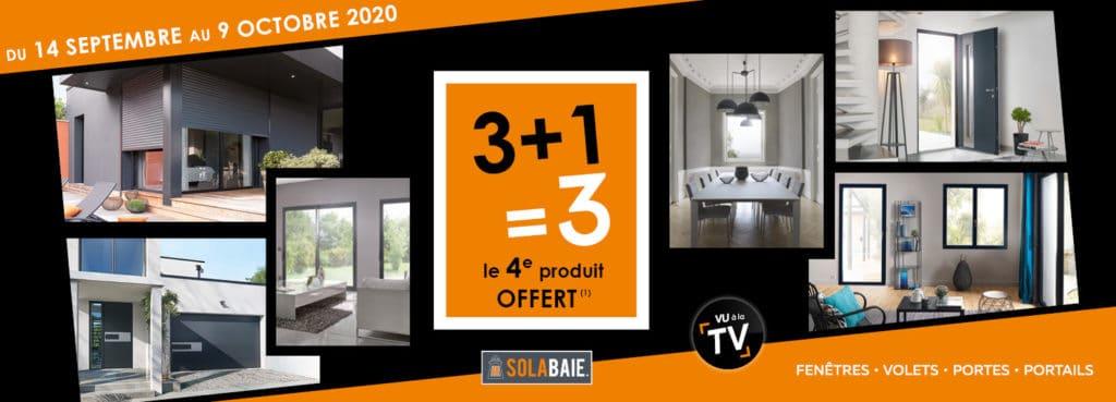 Promo menuiseries Solabaie : en ce moment votre 4e fenêtre, porte, volet ou portail offert !